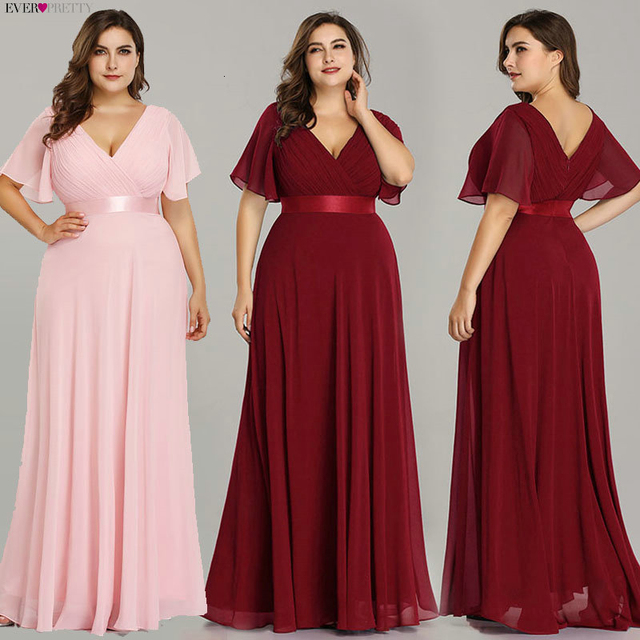 Plus Size Evening Dresses Ever Pretty EP09890 Elegant V-Neck Ruffles Chiffon Formal Evening Gown Party Dress Robe De Soiree 2019 2