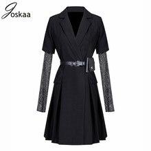 Joskaa Women Spring Blazer Mesh Diamond Black Long Sleeve Blazers Jackets Vintage Elegant Fashion Club Casual Sexy Long Outwear