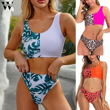 Women's 2020 new printed bikini beach wind swimsuit high waist bikini push up Sexy Summer Fashion sleeveless bikini beachwear