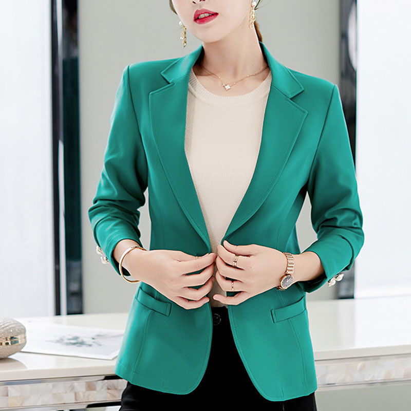 Women blazers 2019 Solid Single Button Notched  Pockets Office Lady green and black blazer women blazers and jackets full 0338
