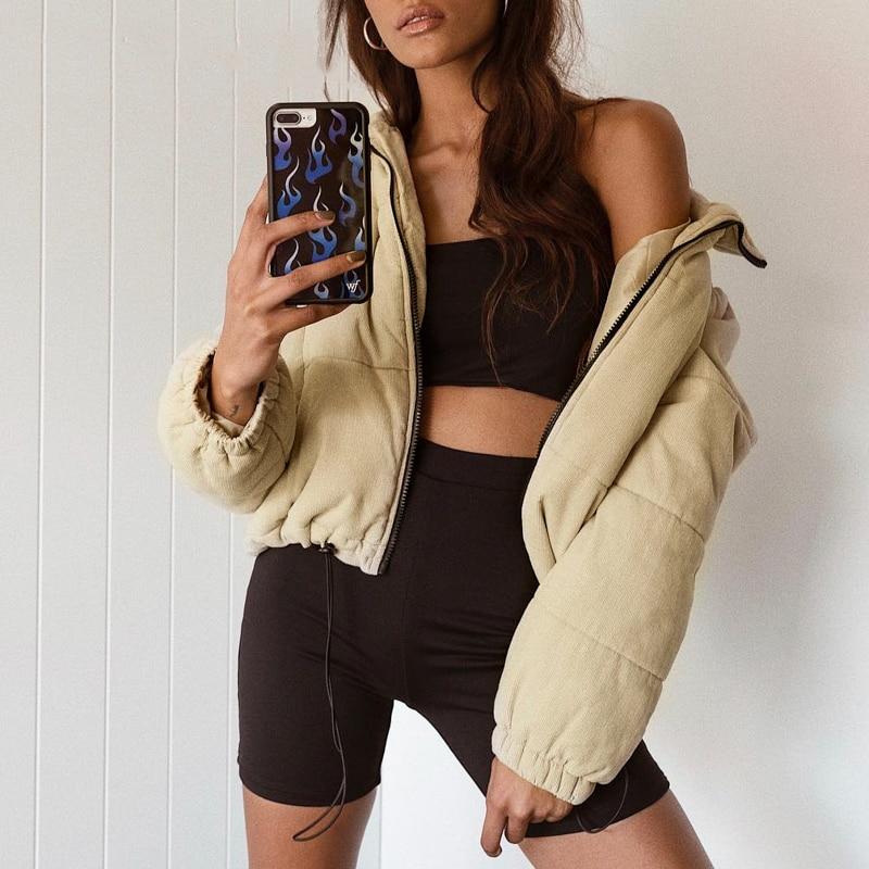 2019 corduroy thick   parka   overcoat khaki streetwear jacket coat female Casual Winter warm fashion outerwear coats Women