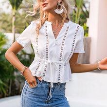 Mulheres verão oco para fora blusa de manga curta com decote em v magro rendas até sólidos blusas casuais topos feminino elegante escritório roupas das senhoras