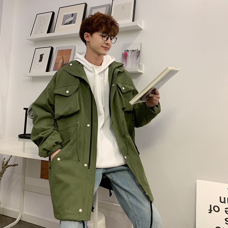 Tooling Long-Jacket Streetwear Winter Casual Men Fashion New Hip-Hop Loose Solid-Color