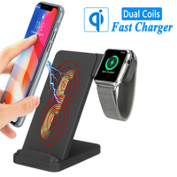 2-in-1 Fast Wireless Charger For iPhone X XS MAX QI Quick Wireless Charger For Airpods Apple Watch4 3 2 1Fast Wireless Full load