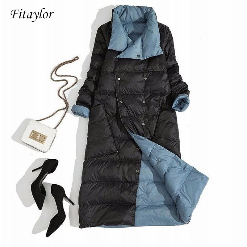 Fitaylor Women Double Sided Down Long Jacket Winter Turtleneck White Duck Down Coat Double Breasted Parkas Warm Snow Outwear