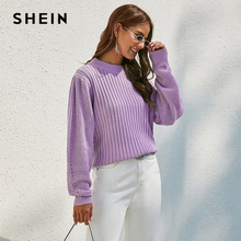SHEIN Purple Solid Ribbed Knit Bishop Sleeve Sweater Women Tops Autumn Winter O Neck Drop Shoulder Casual Sweaters