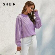 Shein roxo sólido com nervuras de malha bishop manga camisola feminina topos outono inverno o pescoço ombro gota casual suéteres
