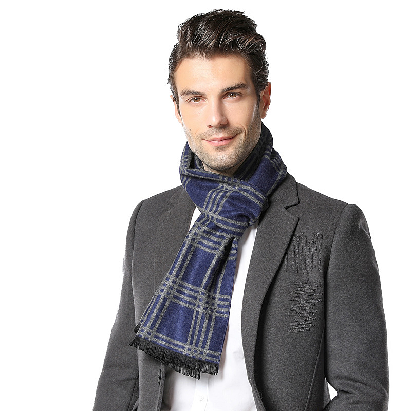Winter Autumn Plaid Thicken Long Scarf For Men Male Fashion Business Style Shawl Adult Warm Warp With Tassel