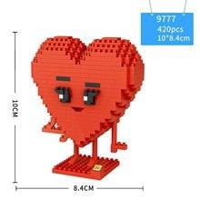 Милые Мультяшные строительные блоки фигурки красного сердца