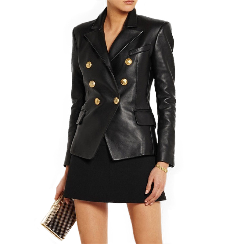 100% Genuine Leather Jacket Women Double-breasted Motorbiker Female Real Sheepskin Jacket England Genuine Leather Coat For Women