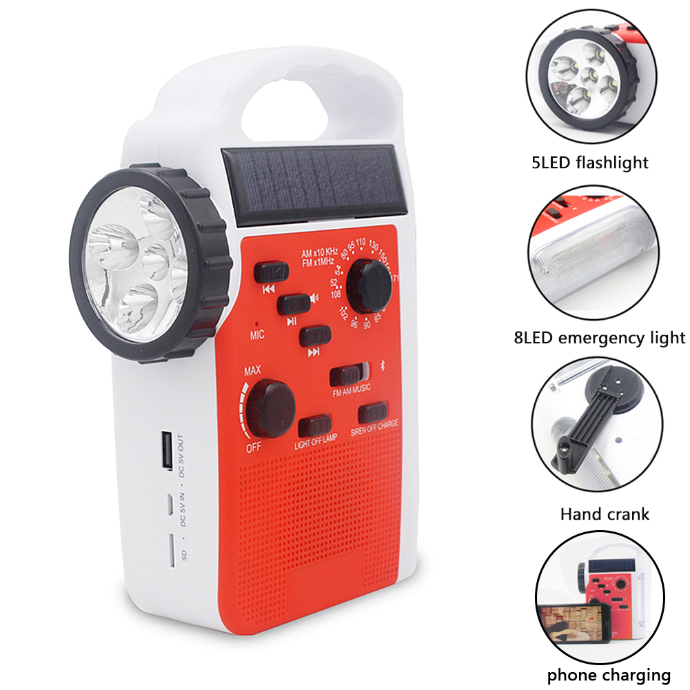 7 <font><b>In</b></font> 1 Speaker Multifunction Emergency Reading Lamp AM/FM Bluetooth Outdoor Flashlight TF Card Hand Crank Led <font><b>Radio</b></font> Solar image