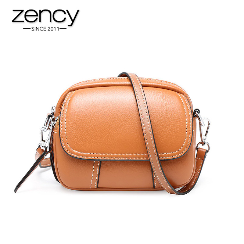 Zency Anti-theft Cover Women Messenger Bag 100% Genuine Leather Round Shape Fashion Lady Shoulder Bags High Quality Black Brown