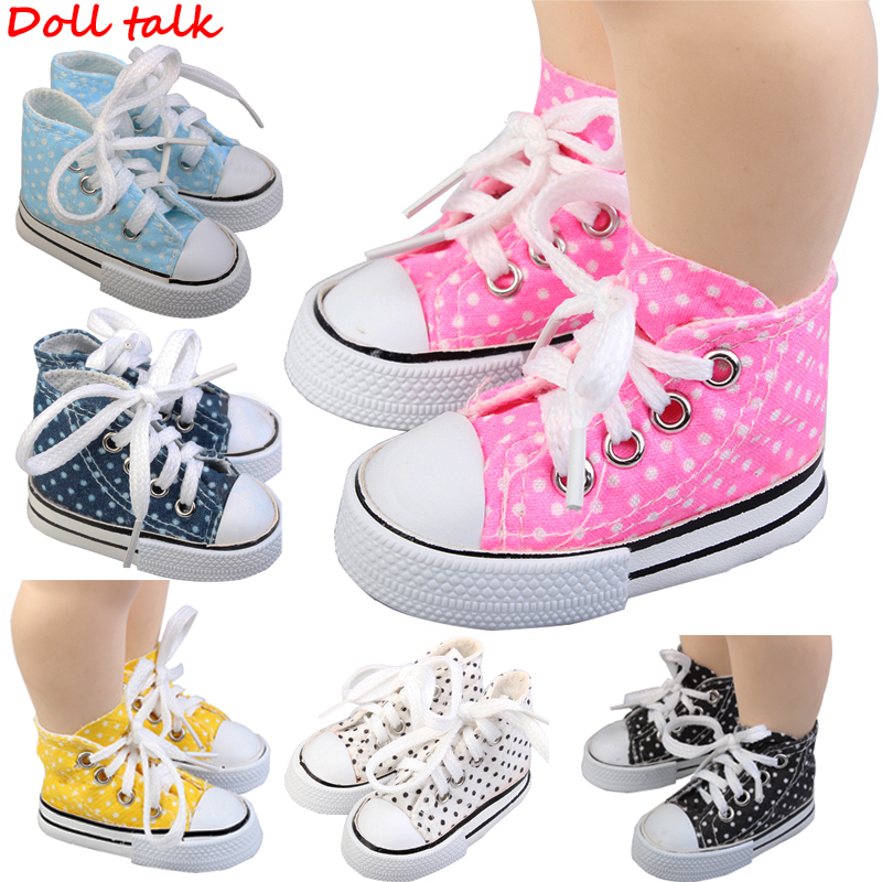 Doll Unisex Shoes 2020 New Style Spotted Doll 7.5cm Canvas Shoes For 1/3 BJD Doll Fashion Mini Shoes For Russian DIY Doll