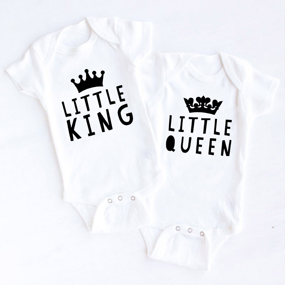 Twin Outfits King and Queen Bodysuits Twin Baby Gift Twin Baby Shower Clothes Boy Girl Twins Babies Gift Drop Shipping