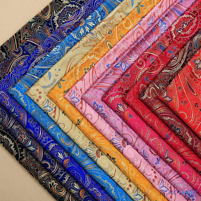 75cm Brocade Silk Sew Fabric Beauty Damask Cloth for Dress Flower Material for DIY Needlework
