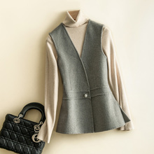 Short Coat Vest Woolen Double-Faced Cardigan Autumn Winter Women's And V-Neck