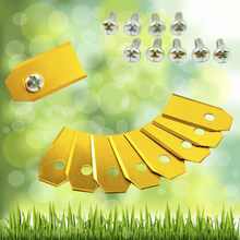 30pcs Golden 35*18*0.75mm Garden Machinery Lawn Mower Stainless Steel Blade High Quality Trimmer Blade Garden Lawn Mower Parts(China)