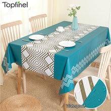 PVC Kunststoff Tisch Tuch Wasserdicht Öl Beweis Tisch Abdeckung Moderne Pastoralen Stil Blätter Plaid Gedruckt Rechteckigen Tee Tischdecken