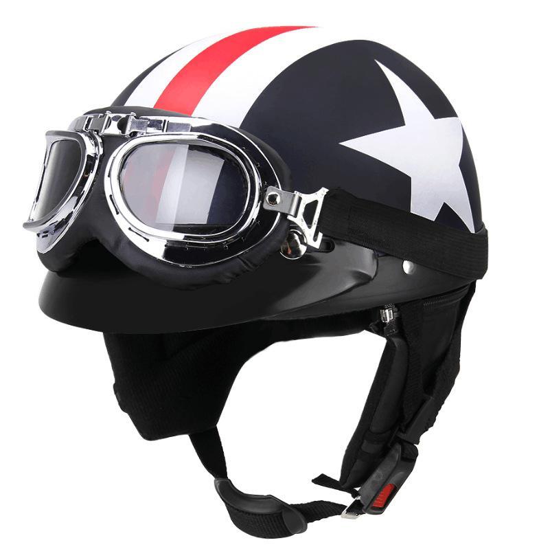 Unisex Motorcycle Helmet With Glasses Half Face Skull Cap Sunscreen Helmet Helmets     - title=