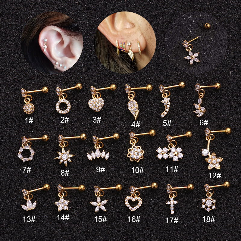 18Styles Gold Silver Color Heart Hexagon Crystal Tragus Ear Piercing Plug Stainless Steel Daith Earrings Helix Cartilage Studs