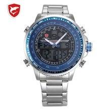 Luxury Winghead SHARK Sport Watch Men Black Dual Time Date Alarm Steel Band Relo