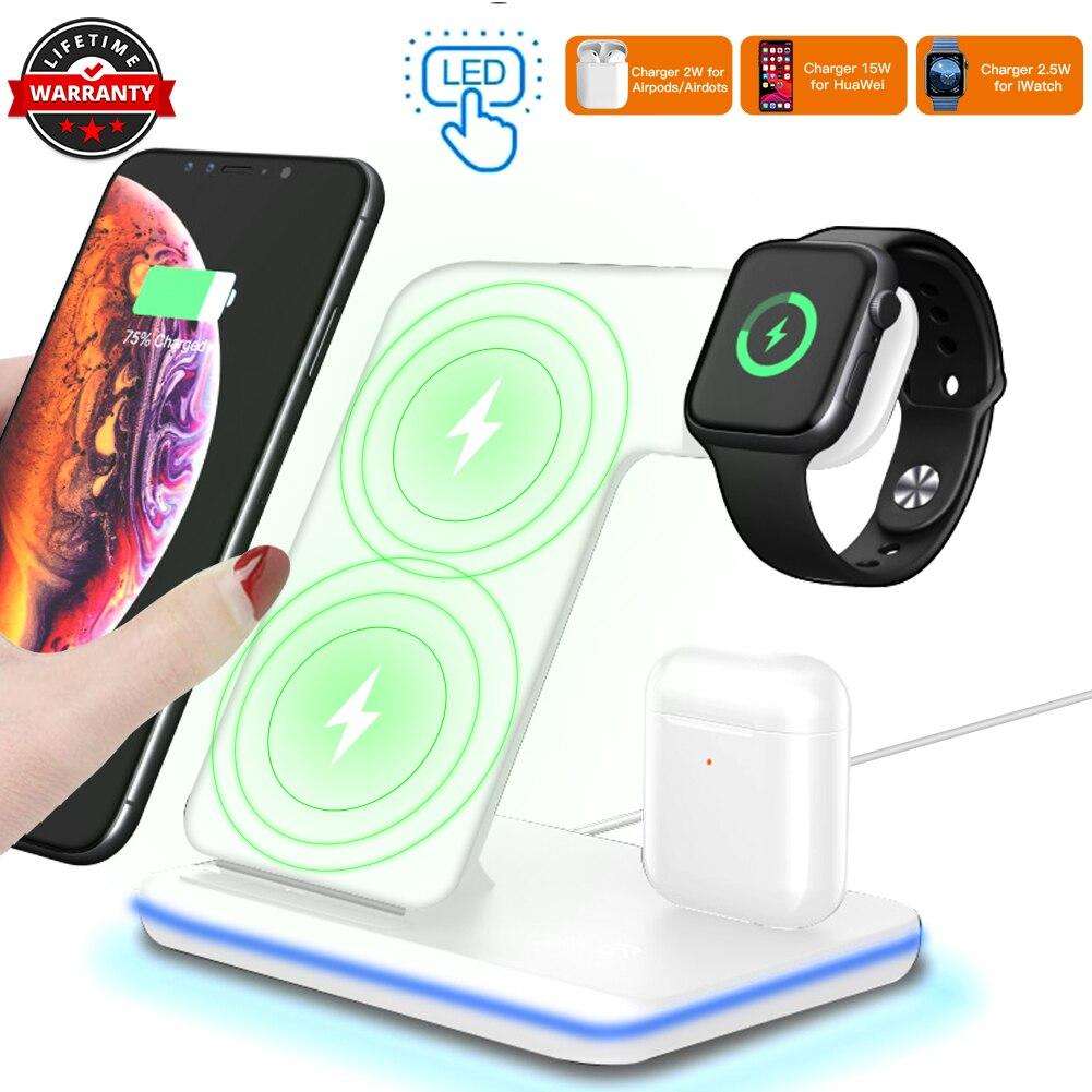 3 en 1 chargeur sans fil Dock pour iPhone X XS MAX 15W charge rapide support pour samsung S10 Plus Station de charge pour Apple Watch