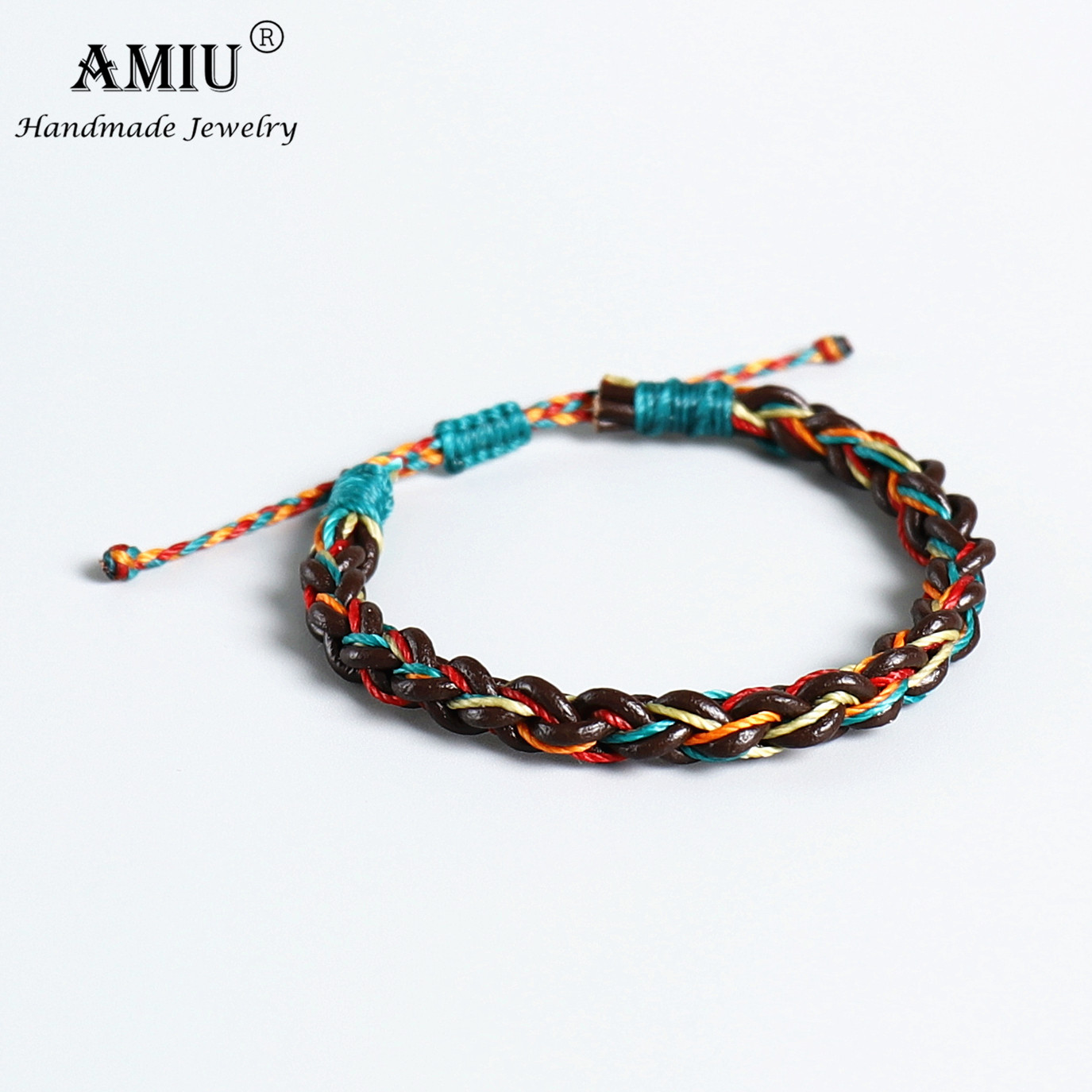 AMIU Handmade Real Leather Waterproof Wax Thread Lucky Rope Bracelet & Bangles For Women Men Friendship Woven Macrame Bracelets