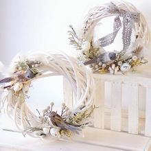 Рождественский венок из ротанга, украшения, подвесные цветочные поделки, украшение для вечерние, Рождественская гирлянда «сделай сам», под...