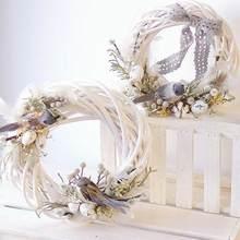 Natal rattan grinalda ornamentos pendurado flor artesanato casa decoração de festa natal diy guirlanda presentes natal videira anel