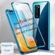 New Magnetic Case for Huawei P40 Pro Case Front+Back double-sided Tempered Glass Case Huawei P40 Lite Nova 7i Metal Bumper Case