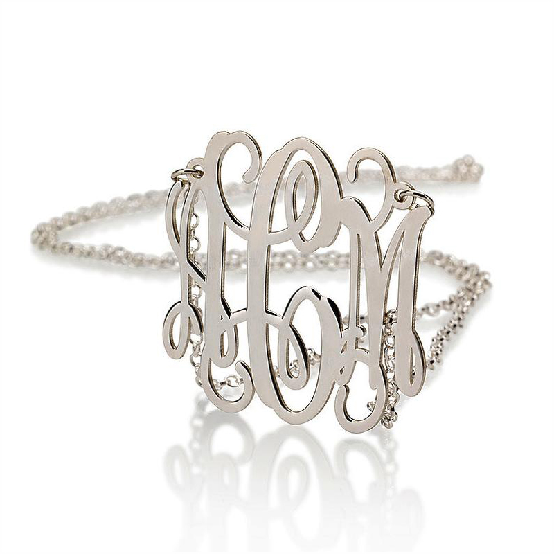 Personalized Monogram Necklace Silver Gold Chain Stainless Steel Custom Monogrammed Initial Alphabet Necklace Mother's Gift