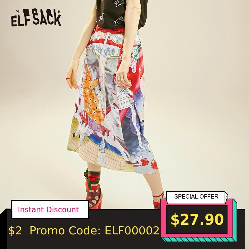ELFSACK Fashion Cartoon Print Women Skirt 2019 Summer Vintage A-line Mid Waist Female Skirts Streetwear Casual Femme Bottoms