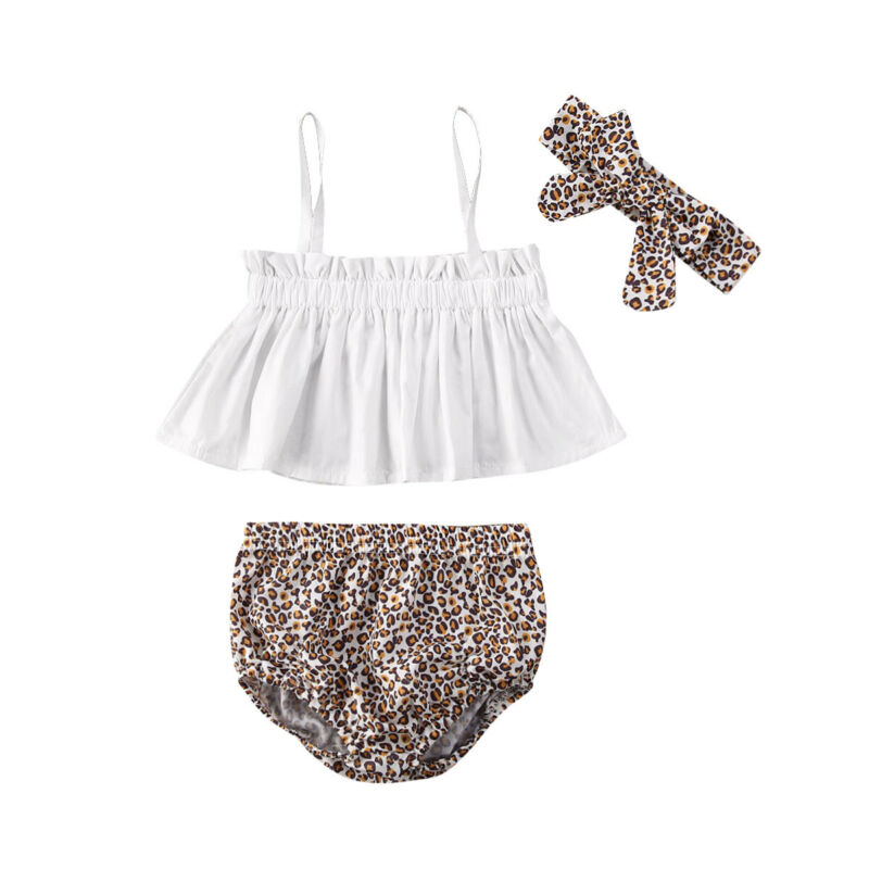 Newborn Baby Girl Two Piece Set Clothes Sleeveless Top Leopard Short Headband Infant Baby Clothing Sets