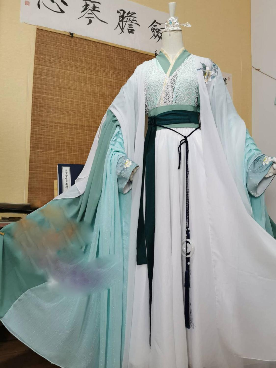 Light Blue Embroidery Male Prince Costume Hanfu Wind Master Cos Anime Heaven Official's Blessing Tian Guan Ci Fu Cosplay Hanfu