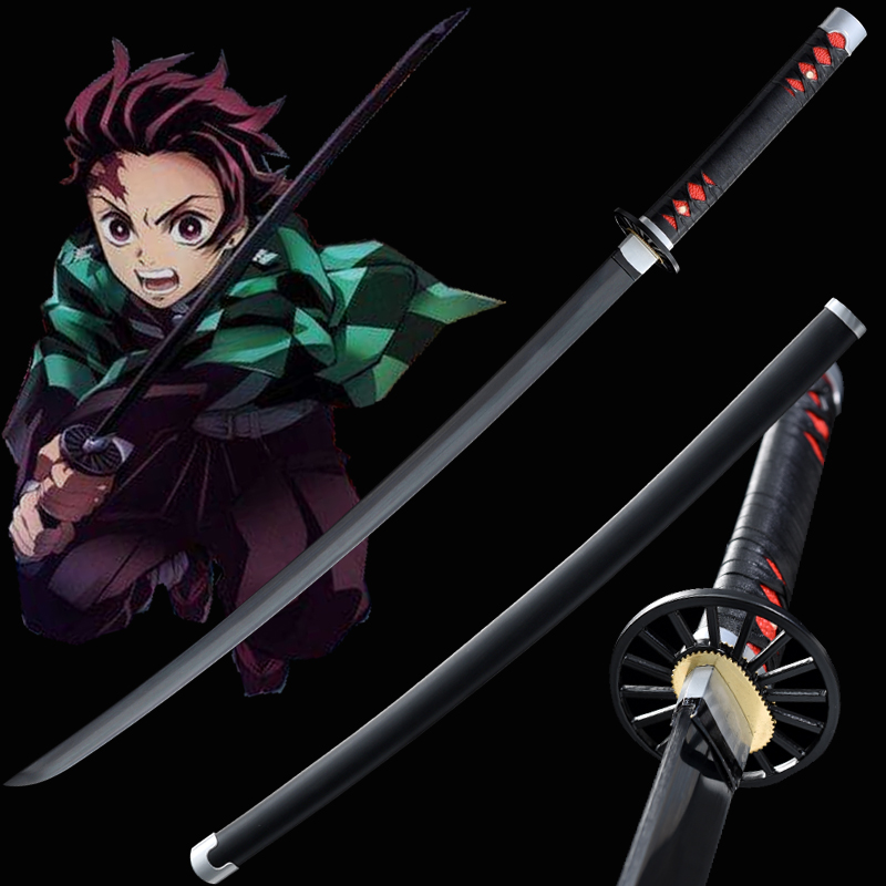 Demon Slayer Sword Kamado Tanjirou's Cosplay Props Handmade Blade Japanese Katana Real Swords Anime Ghost Black Color