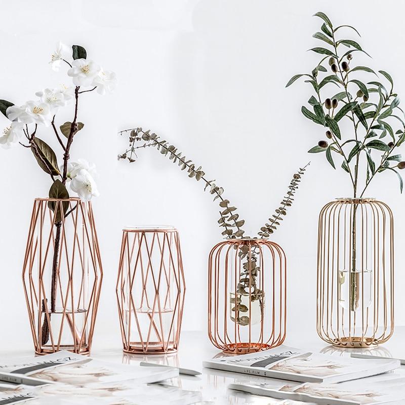 7.5US $ 50% OFF Nordic Lantern shaped Iron Art Glass Vase Gold Plated Flower Vase Tabletop Vase Flow...