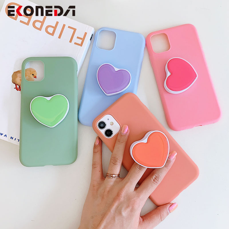 Phone Holder Case For Samsung Galaxy A50 A51 A70 A71 S20 Ultra S10 S9 S8 Note 8 9 10 Plus Heart Stand Soft TPU Case