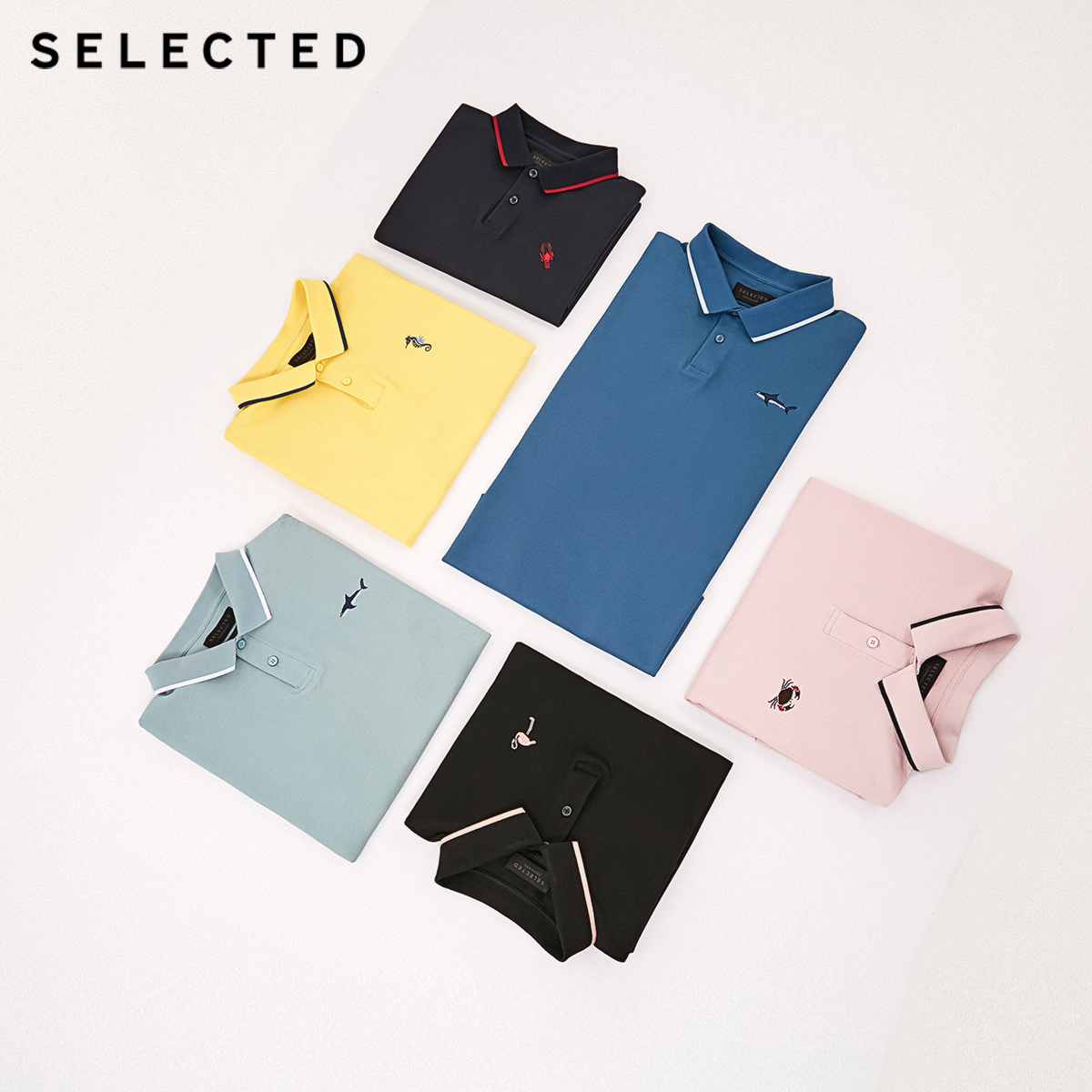 SELECTED Men's Summer 100% Cotton Turn-down Collar Short-sleeved Polo S|419206505