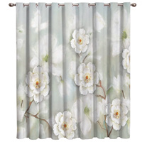 Watercolor Style White Flowers Window Treatment Hardware Sets Curtain