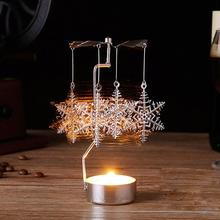 PATIMATE 2019 Christmas Spinning Mental Candle Holder Candlestick Decoration For Home Happy New Year 2020 Xmas Gift