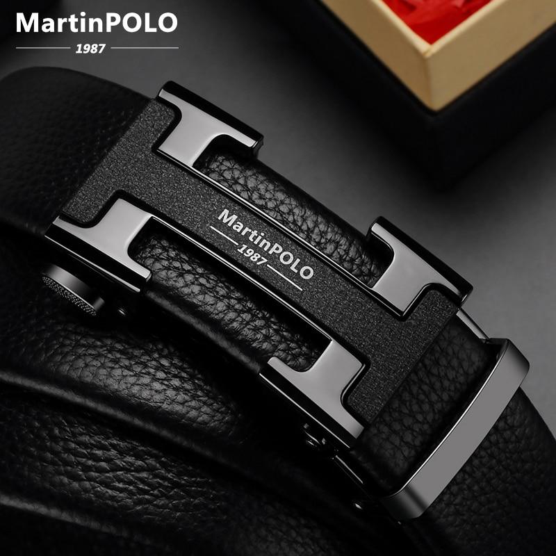 Martinpolo cinto de couro genuíno dos homens cowskin cinta cintos de luxo para masculino liga fivela automática moda cinto largura 3.5cm