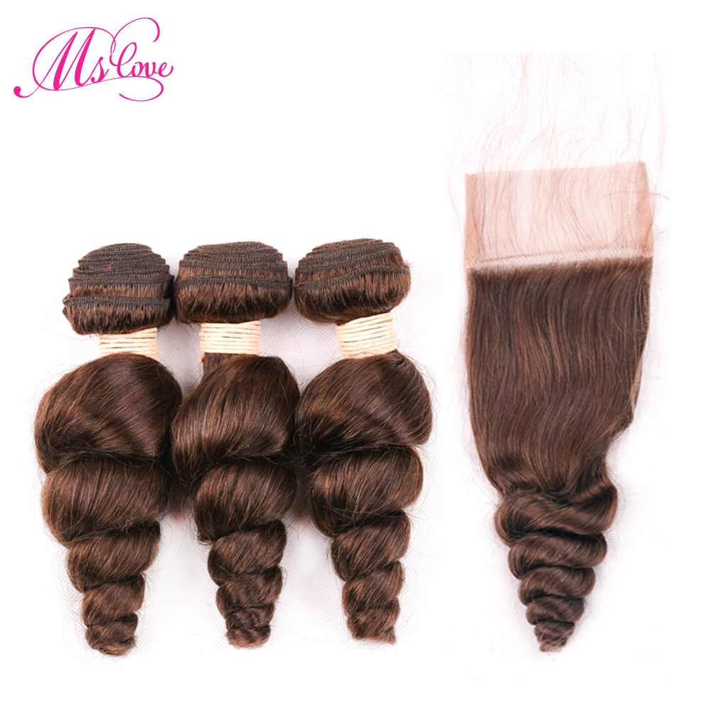 Loose Wave Brown Brazilian Hair Bundles With Closure #2 #4 Human Hair Bundles With Lace Closure 4*4 Brazilian Hair Weave Bundles