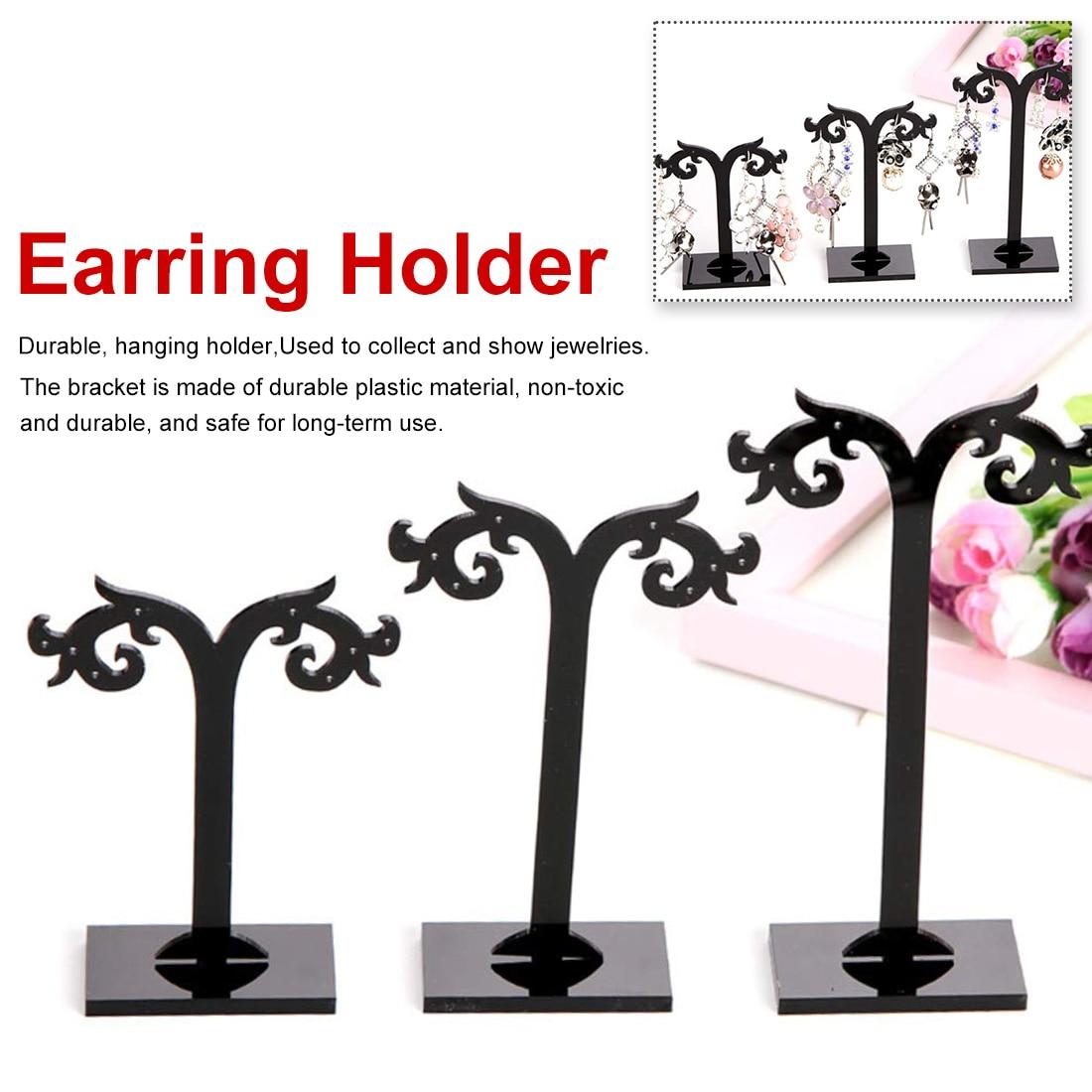 3Pcs Acrylic Earring Display Stand Showcase Jewelry Organizer Holder Jewelry Frame Black Anti-Deformation Earring Stand Storage
