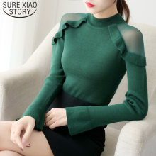 Korean Autumn Flare Sleeve Off Shoulder Women's Sweater 2019 Slim Fit Turtleneck New Fashion Women Sweaters Pull Femme 6387 95(China)