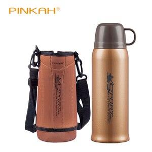 Image 2 - Pinkah Thermos 730ml z bezpłatna torba 304 kubek termiczny ze stali nierdzewnej kubek wody kubek próżniowy Outdoor Sports podróżny kubek do kawy
