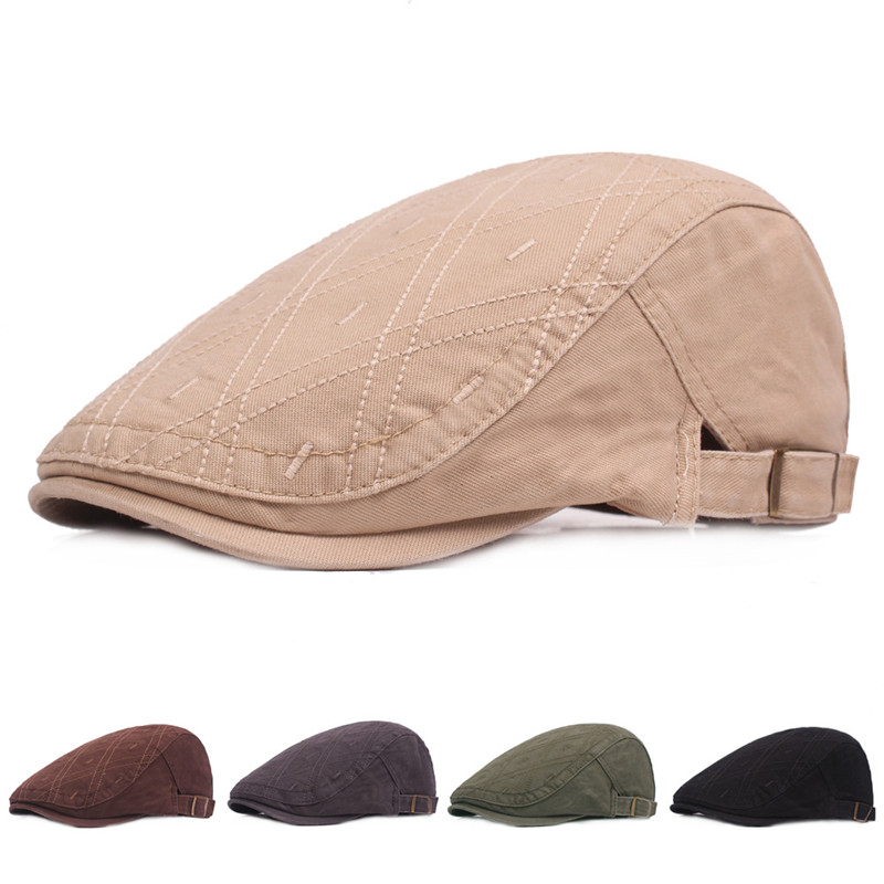 SILOQIN Spring Summer High Quality Men 39 s Cotton Embroidery Berets Adjustable Size Snapback Leisure Outdoor Tourism Sports Sunhat in Men 39 s Berets from Apparel Accessories