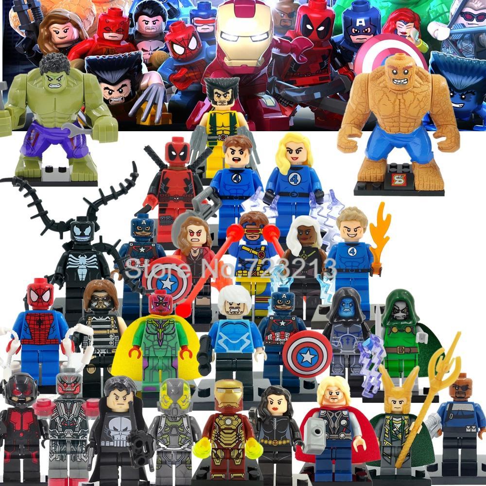 Classic Marvel Super Heroes Figure Set Avengers Fantastic Four X-Men Iron Man Building Blocks Models Bricks Kits Toys Legoing
