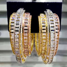 GODKI Luxury Feather Design cyrkonia oświadczenie Hoop kolczyki dla kobiet ślubne dubaj kolczyki biżuteria akcesoria 2019