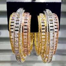 GODKI יוקרה נוצת עיצוב מעוקב Zirconia הצהרת עגילי חישוק לנשים חתונה דובאי עגילי תכשיטי אביזרי 2019