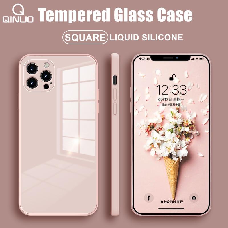 Custodia per telefono quadrata in vetro temperato per iPhone 12 Mini 11 Pro Max SE 2 X XR XS Max 8 7 Plus 12 Pro custodia in Silicone liquido anti-bussola 1